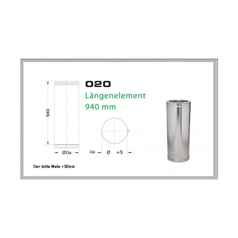 020-DN160 DW5 Längenelement 1000mm- 940 mm