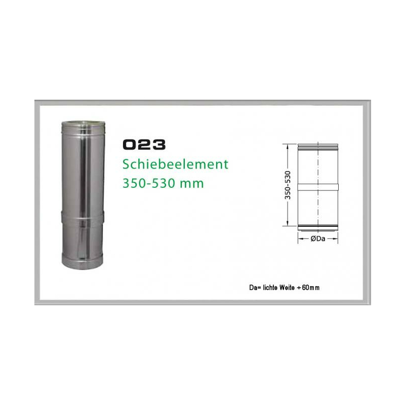 023-DN180 DW6 Schiebeelement 350 mm - 530 mm