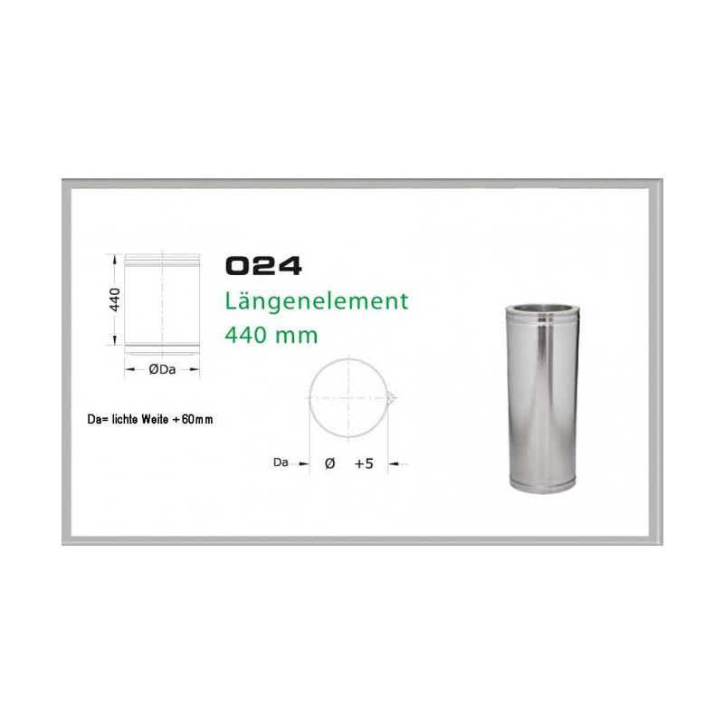 024-DN180 DW6 Längenelement 500mm- 440 mm
