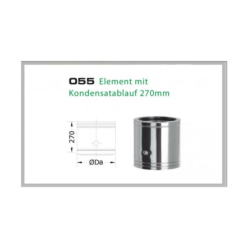 055-DN180 DW6 Element mit Kondensatablauf 330-270 mm