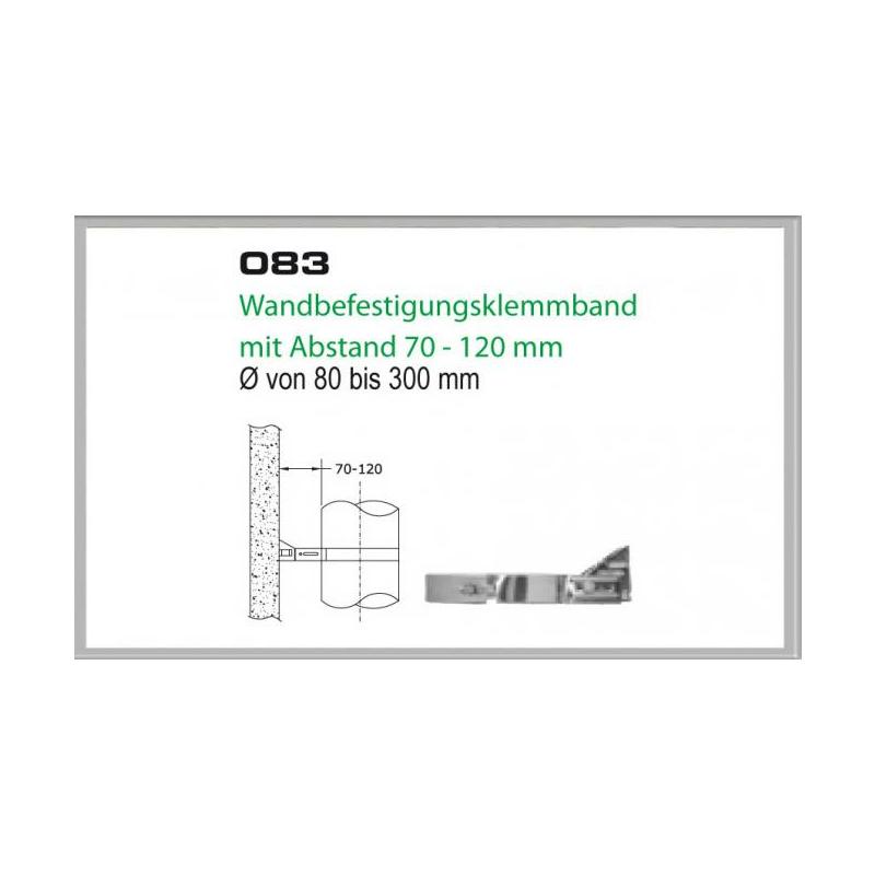 083-DN180 DW6 Wandbefestigungsklemmband mit Abstand 70-120 mm