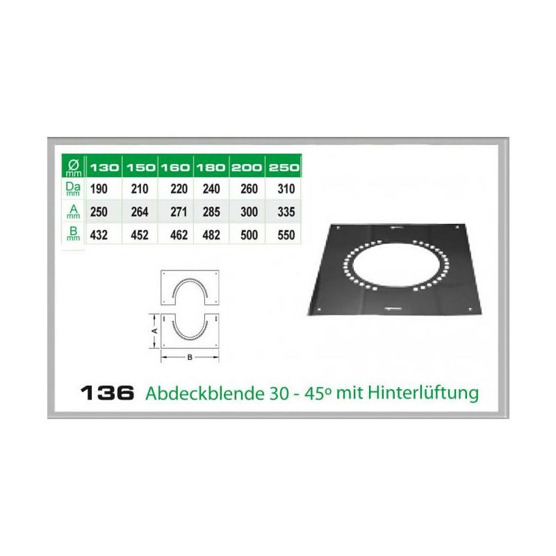 136-DN250 DW6 Abdeckblende 30-45- mit Hinterlüftung