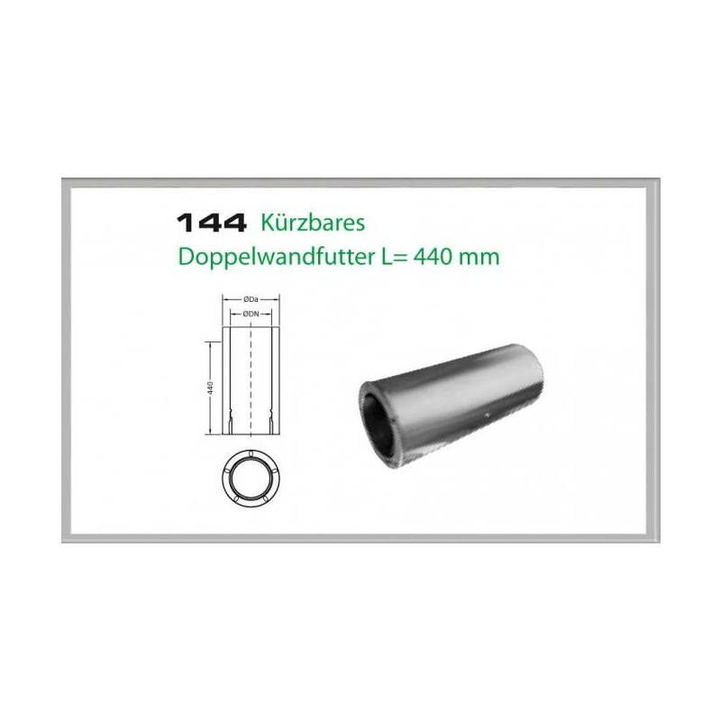 144-DN200 DW5 kürzbares Doppelwandfutter L-440mm