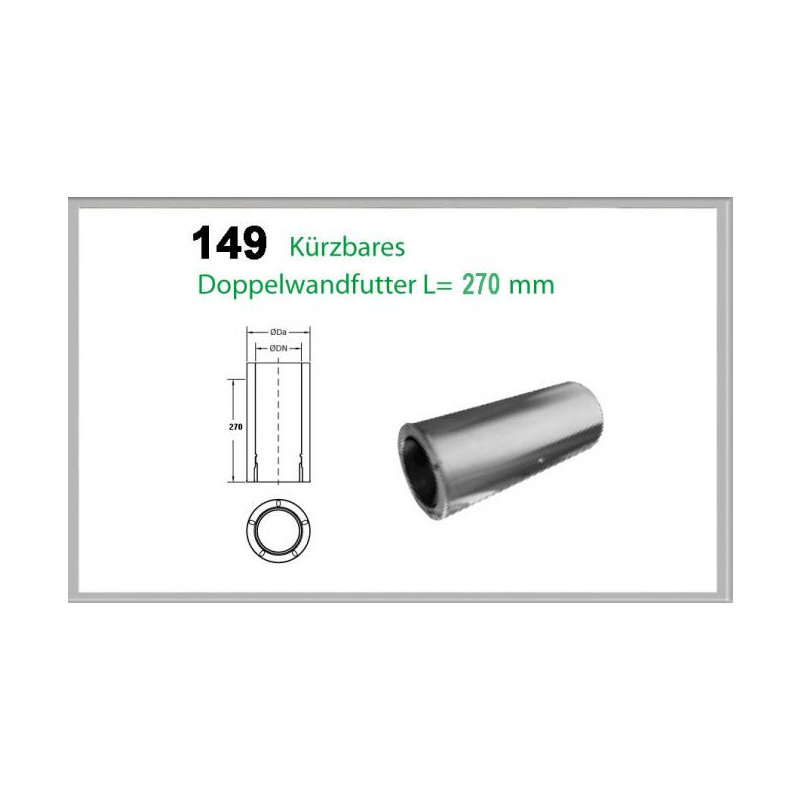 149-DN160 DW5 kürzbares Doppelwandfutter L-270mm