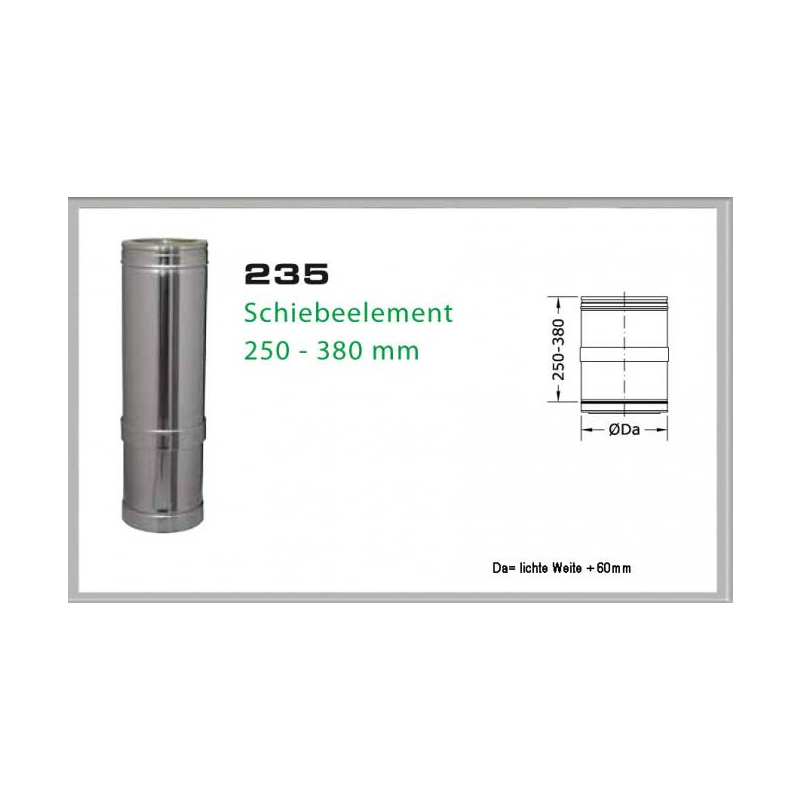 235-DN180 DW6 Schiebeelement 250mm - 380mm