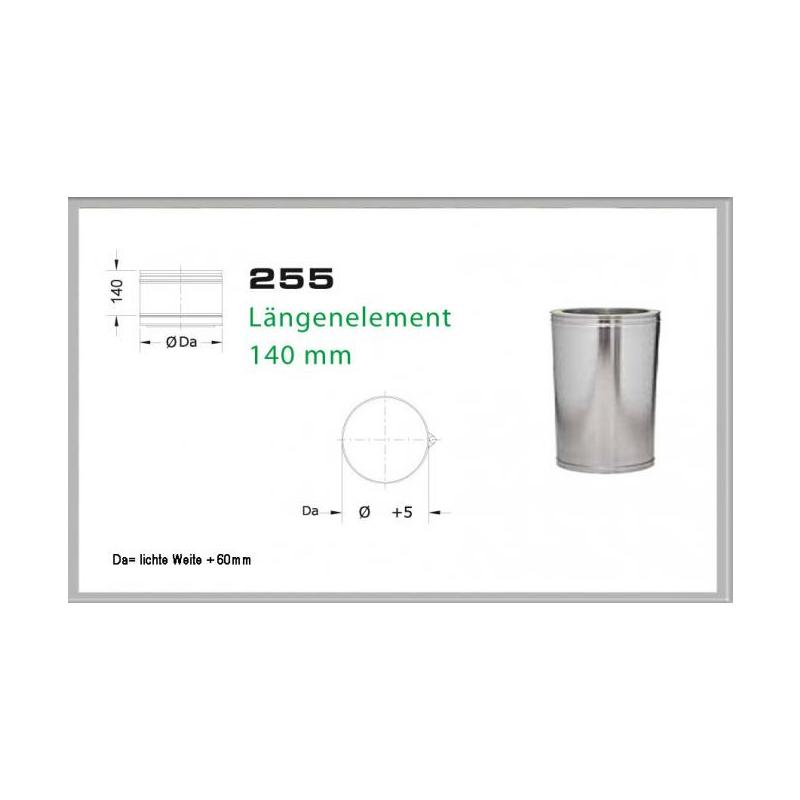 255-DN130 DW5 Längenelement 200mm-140 mm