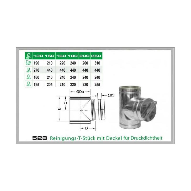 523-DN180 DW5 Reinigungs-T-Stück mit Deckel für Druckdichtheit