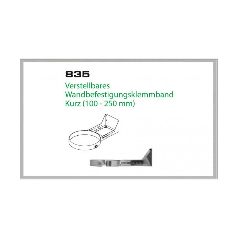 835-DN160 DW6 Verstellbares Wandbefestigungsklemmband kurz 100-250 mm