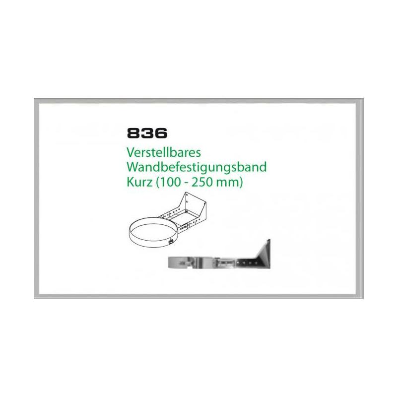 836-DN150 DW6 Verstellbares Wandbefestigungs band kurz 100-250 mm