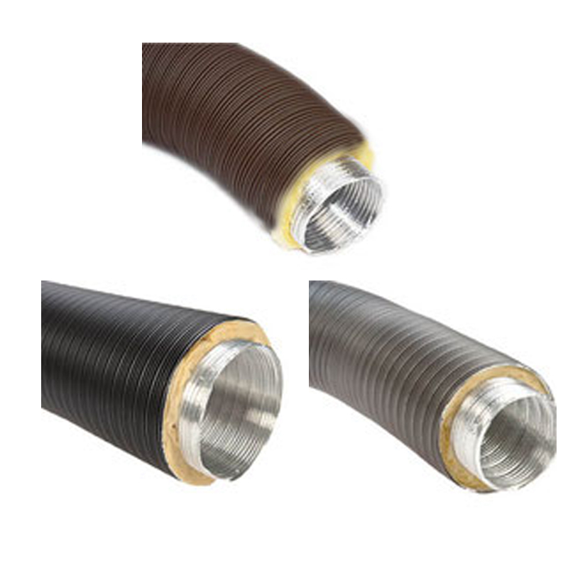 Aluflexrohr isoliert 5-lagig D-50mm - 150mm grau-schwarz-braun beschichtet