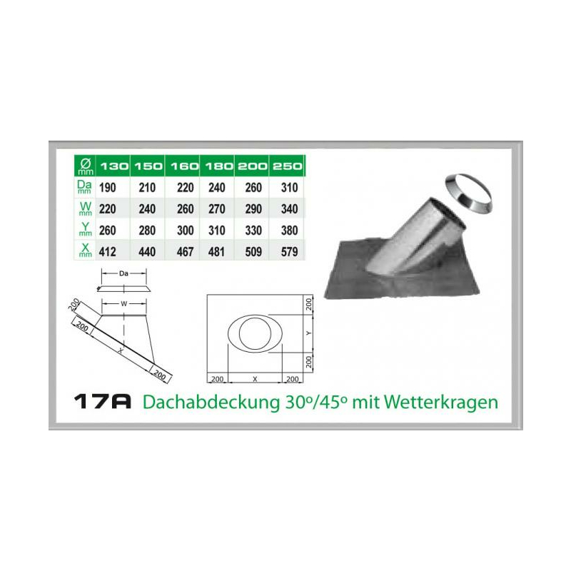 Dachdurchführung 30-45- für Schornsteinsets 130mm DW5