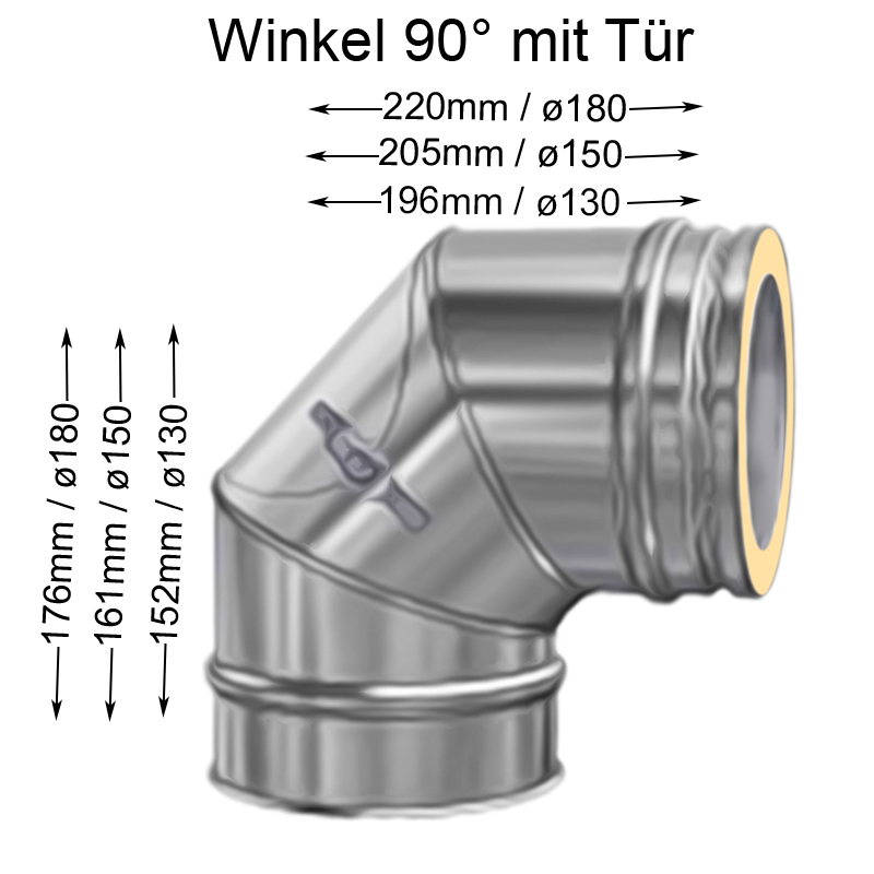 DW Complete Bogen 90- mit Reinigungsöffnung flach 180mm