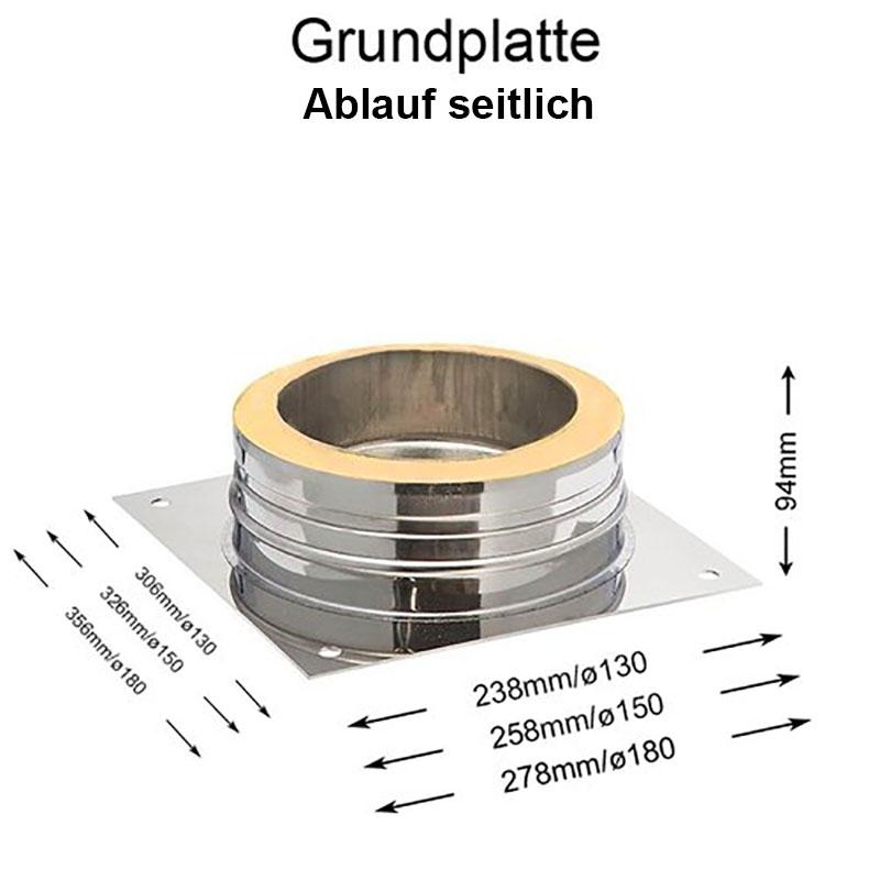 DW Complete Grundplatte Ablauf seitlich 150mm