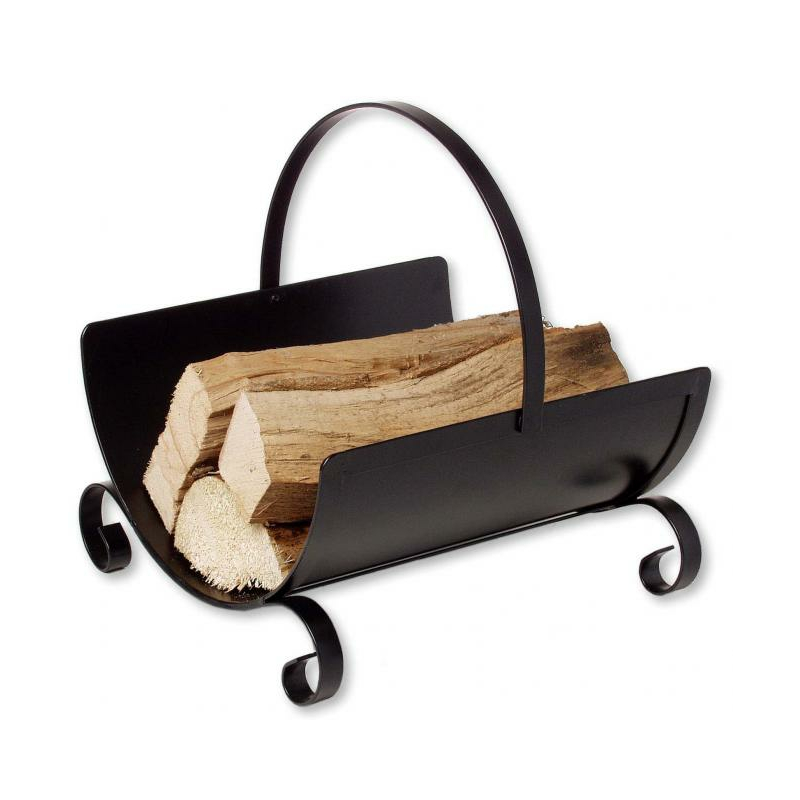 Holztrage Metall schwarz mit beglichem Griff