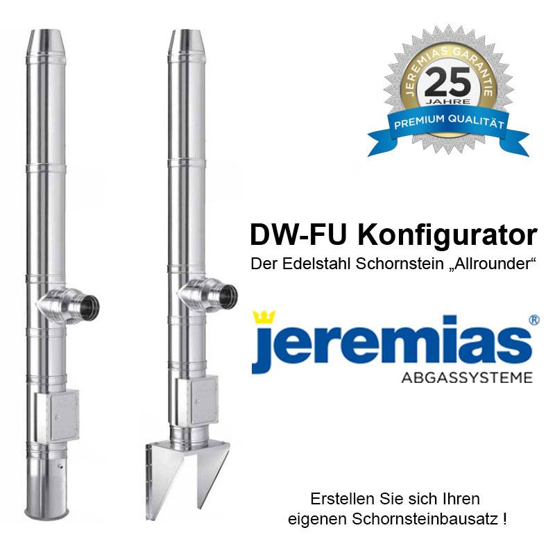 Jeremias DW-FU Edelstahlschornstein Konfigurator DN 80mm - 200mm Bausatz