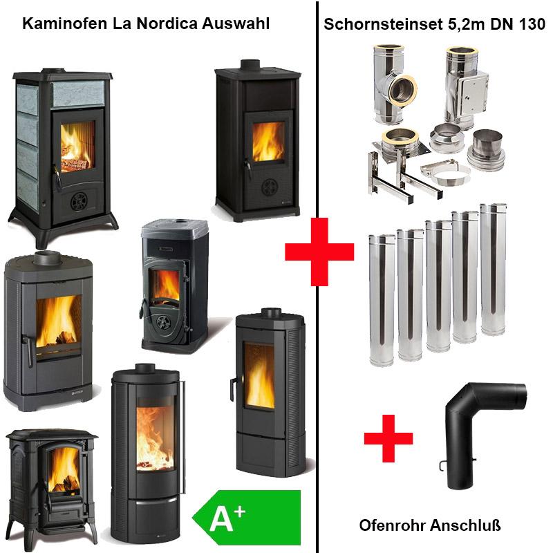 La Nordica Kaminofen mit Edelstahlschornstein 5-2m