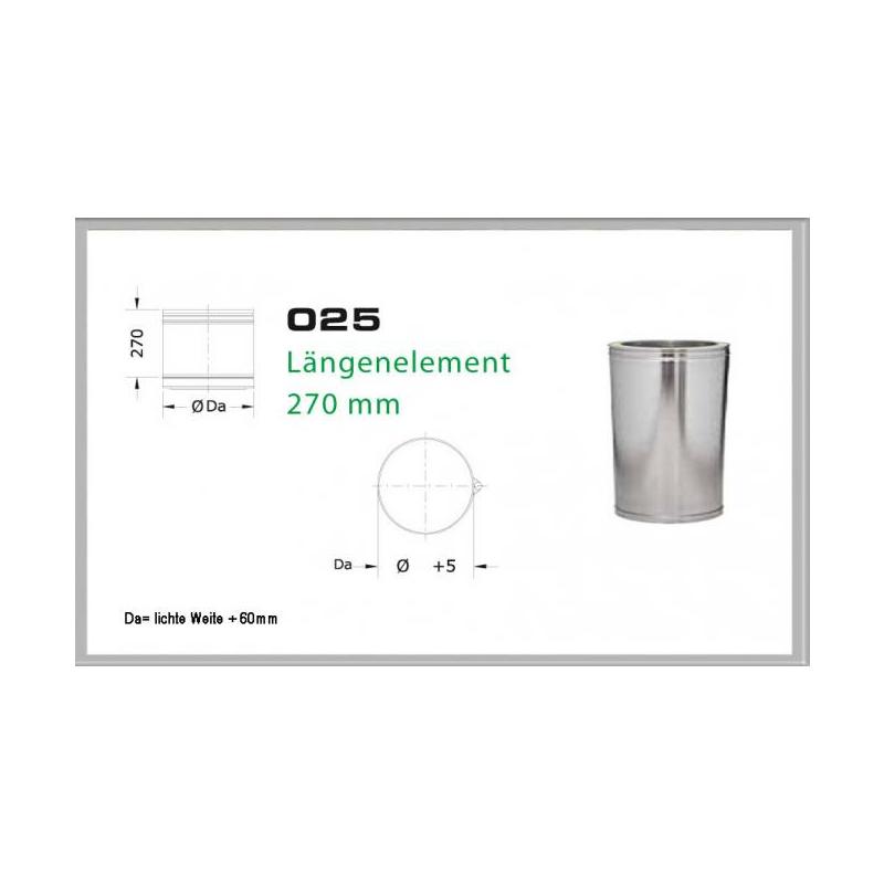 Längenelement 270mm für Schornsteinsets 130mm DW6