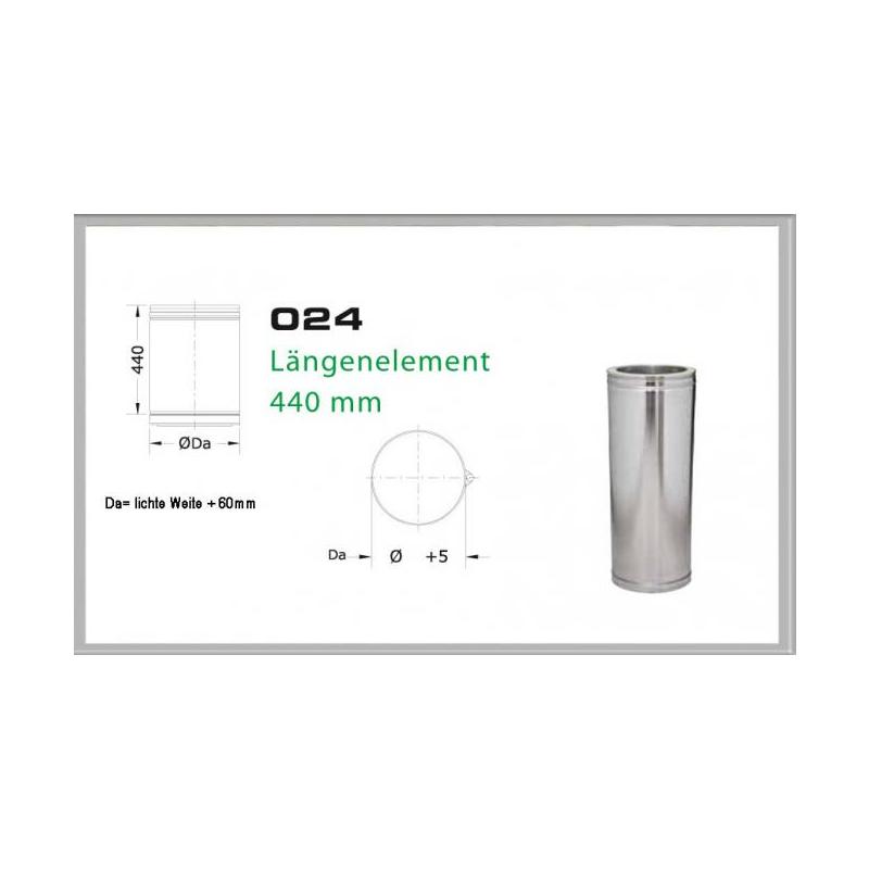 Längenelement 440mm für Schornsteinsets 130mm DW5