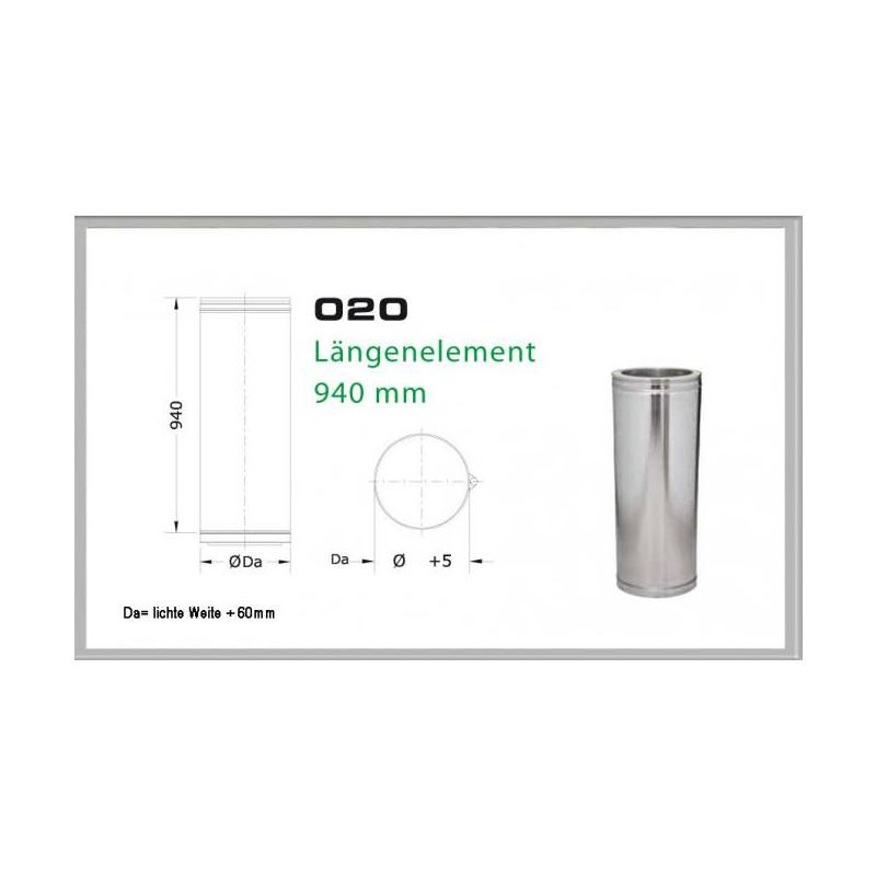 Längenelement 940mm für Schornsteinsets 150mm DW6
