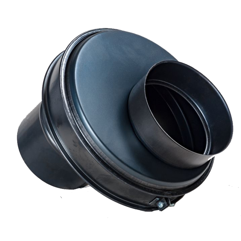 Ofenanschluss verstellbar 0mm - 80mm DN 120mm gebläut