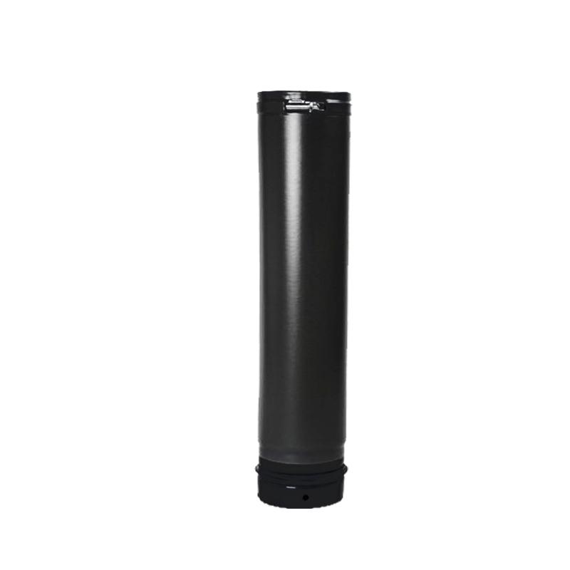 Pellet- Ofenrohr Fix-Rohr 0-5m DN 100mm matt-schwarz emailliert