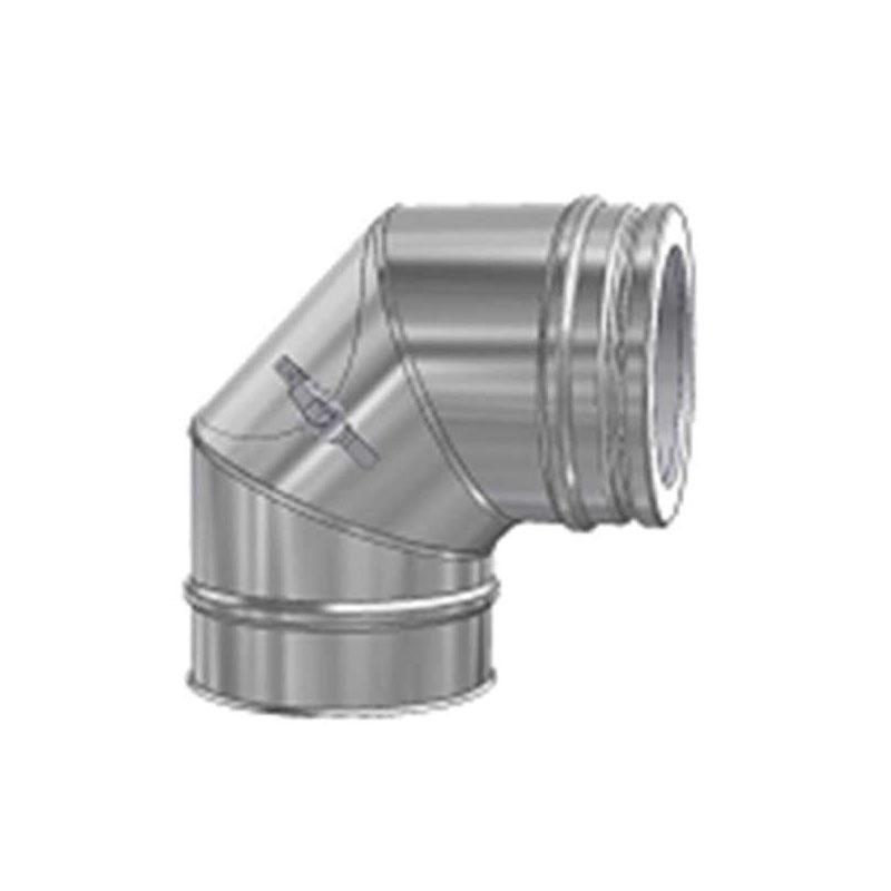 Schiedel ICS Bogen 90- 600 mit Reinigungsöffnung flach für Festbrennstoffe