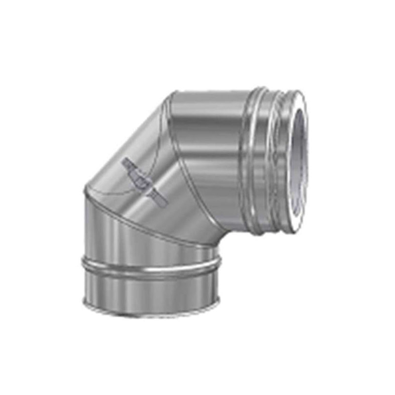 Schiedel ICS Bogen 90- DN 130mm mit Reinigungsöffnung flach für Festbrennstoffe
