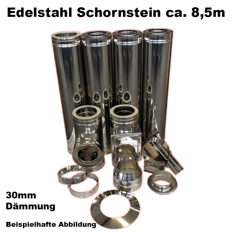 Schornstein-Set Edelstahl DN 130mm doppelwandig Länge ca- 8-5m Wandbefestigung 70-120mm Abstand verstellbar DW5