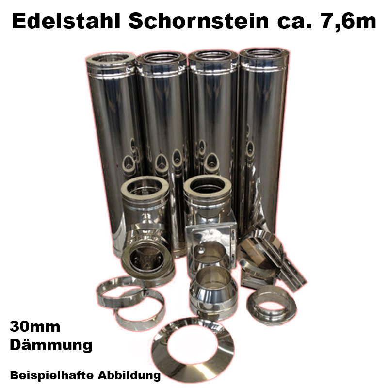 Schornstein-Set Edelstahl DN 150mm doppelwandig Länge ca- 7-6m Wandbefestigung 70-120mm Abstand verstellbar DW5