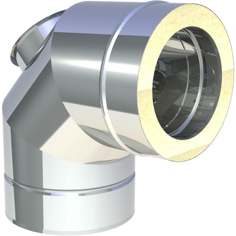 Tecnovis DW-Classic Winkel 87- mit Revisionsöffnung für Festbrennstoffe(bis 600 -C - N1)