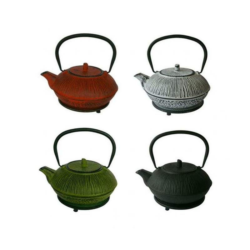 Teekanne aus Guss 1-1 Liter farbig mit Untersetzer Teekessel