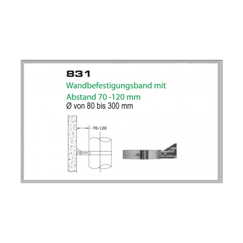 Wandhalterung 70-120mm für Schornsteinsets 180mm DW5