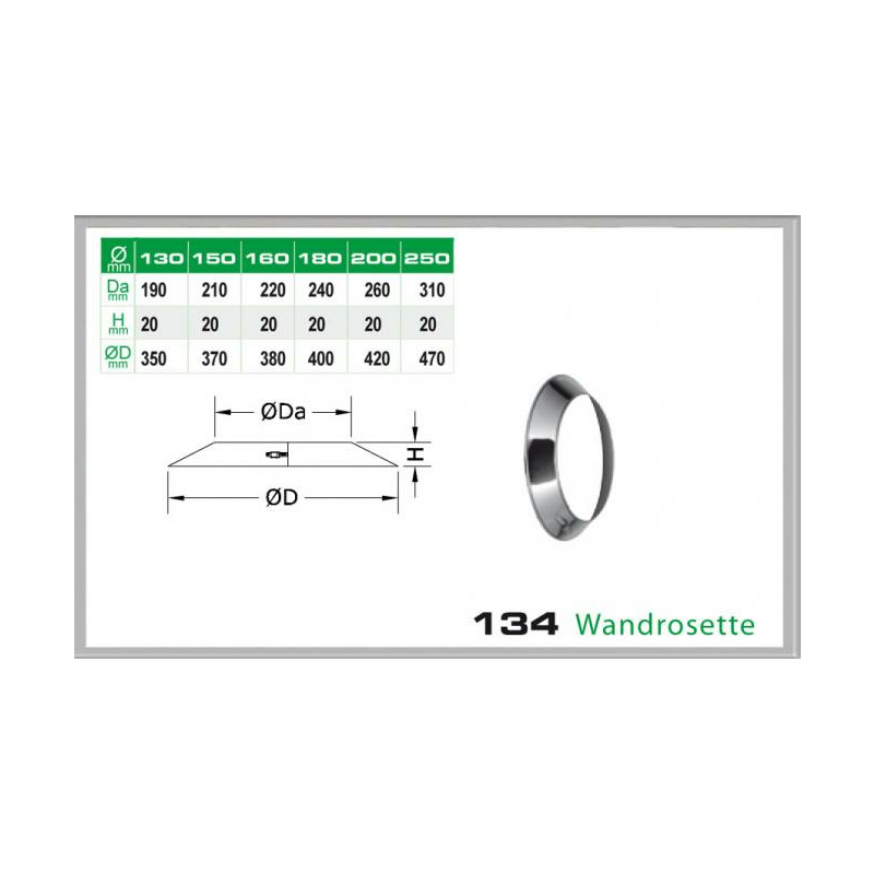 Wandrosette für Schornsteinsets 150mm DW5
