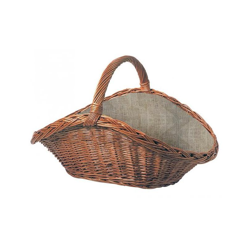 Weiden Holzkorb Oval mit Juteeinlage