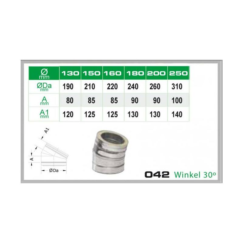 Winkel 30- für Schornsteinsets 180mm DW6