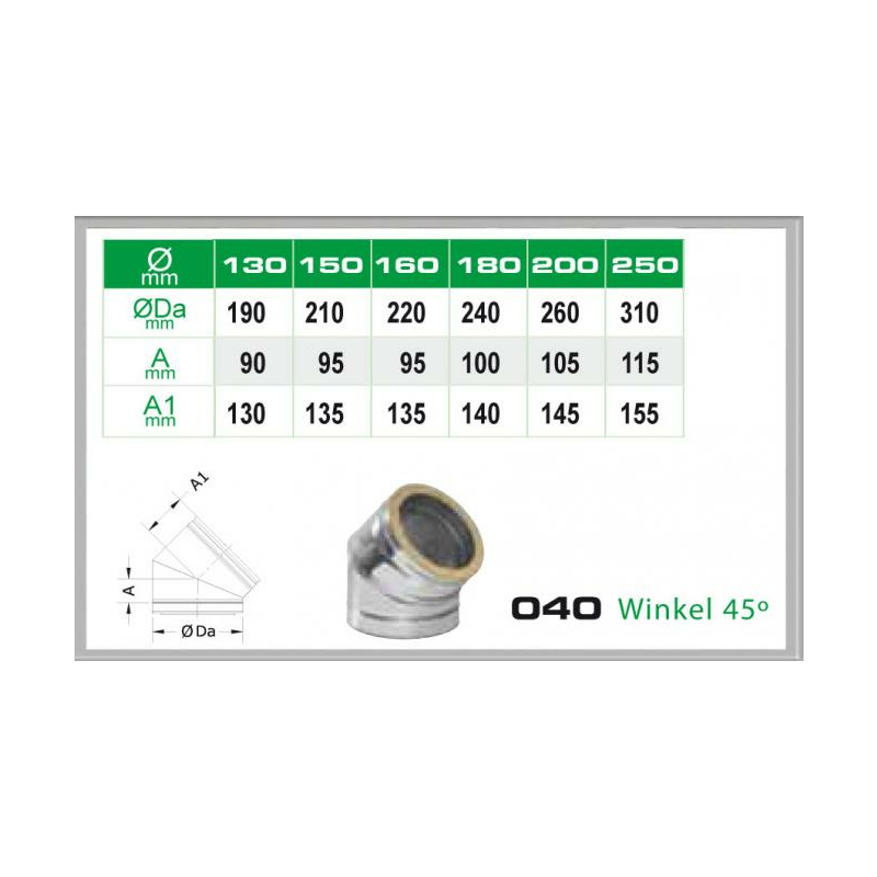 Winkel 45- für Schornsteinsets 200mm DW5