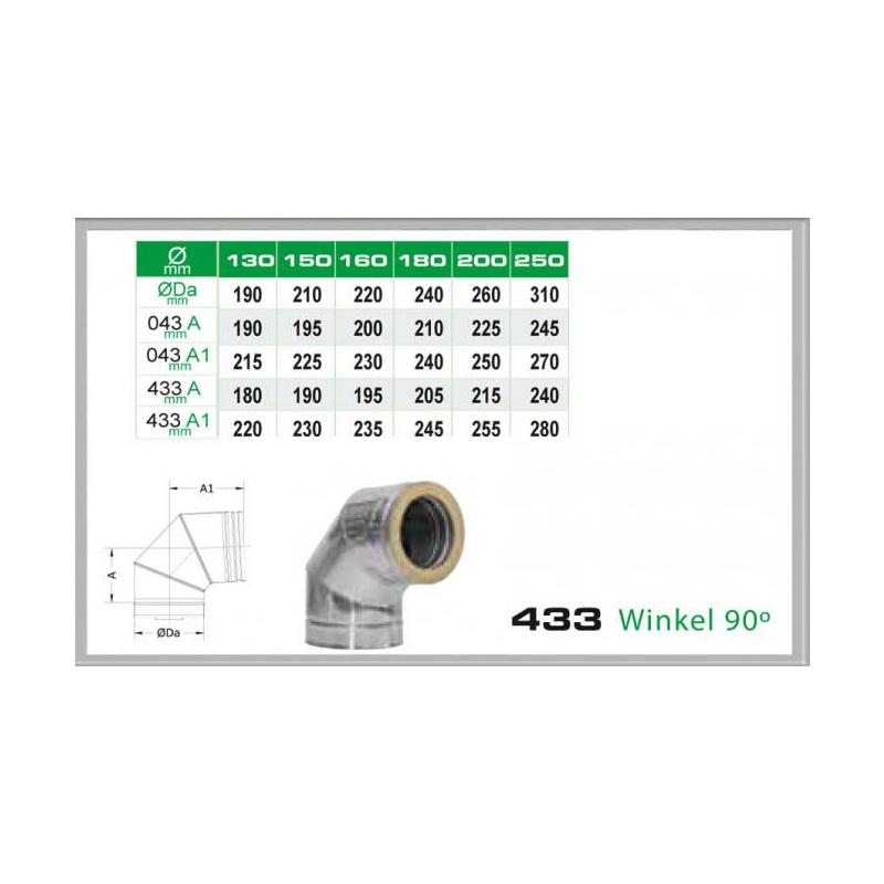 Winkel 90- für Schornsteinsets 150mm DW6